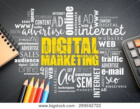 Digital Marketing word cloud on the desk, business concept background stock photo