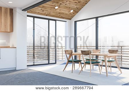 Modern empty office interior with work space. 3D render stock photo