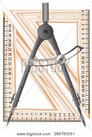 Metal Compass For Use In Drawing Works And Geometry Lessons, Schoolchildren And Students In Educatio