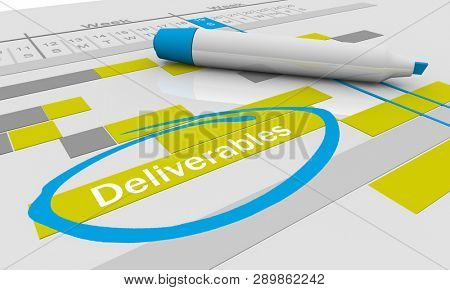 Deliverables Project To Dos Responsibilities Tracking Chart 3d Illustration stock photo