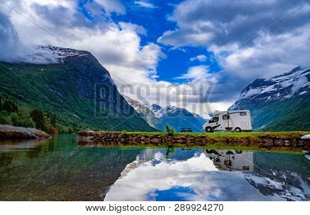 Family vacation travel RV, holiday trip in motorhome, Caravan car Vacation. Beautiful Nature Norway natural landscape. stock photo