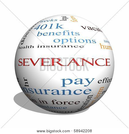 Severance 3D sphere Word Cloud Concept with great terms such as pay package hr benefits and more. stock photo