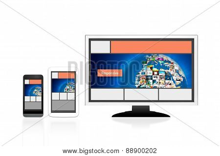 Responsive web design layout on different devices. Set on white background stock photo