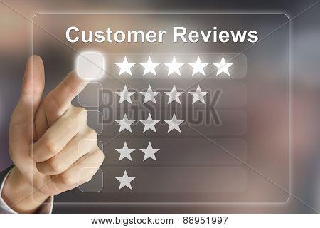 Business Hand Pushing Customer Reviews On Virtual Screen