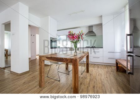 Modern Kitchen Interior Design Architecture Stock Image, Photo of a modern white kitchen with a dark