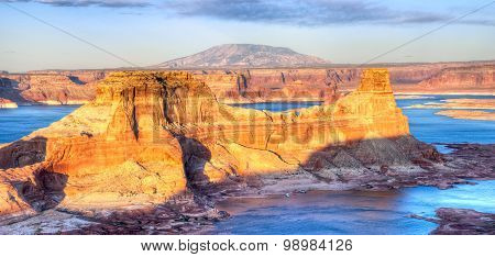 Glen Canyon National Recreation Area Alstrom Point Lake Powell at sunset. stock photo