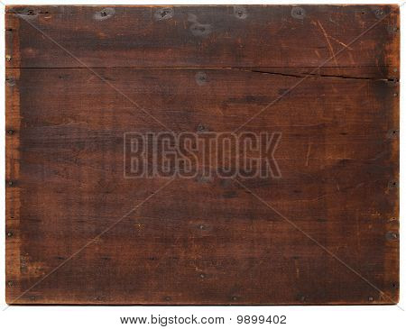 dark grunge wood board with scratches nails stains and cracks isolated on on white stock photo
