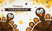 Template welcome card with a glad Thanksgiving turkey, vector representation