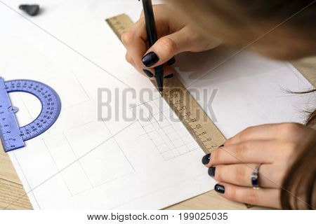 The Girl Student Is Preparing A Plan. Architectural University