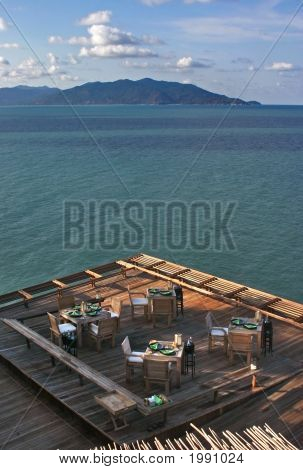 Koh Samui Restaurant on the edge of a cliff overlooking the sea and islands.**Note slight blurriness, best at small sizes. stock photo