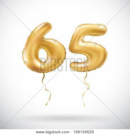 vector Golden number 65 sixty five metallic balloon. Party decoration golden balloons. Anniversary sign for happy holiday celebration birthday carnival new year. art stock photo