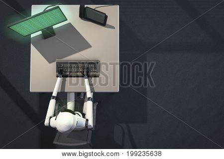 we are the robots, robot in data processing (3d rendering) stock photo