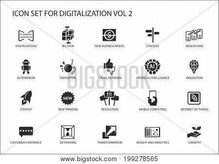 Digitalization icon vector set for topics like big data, business models, 3D printing, disruption, artificial intelligence, internet of things stock photo