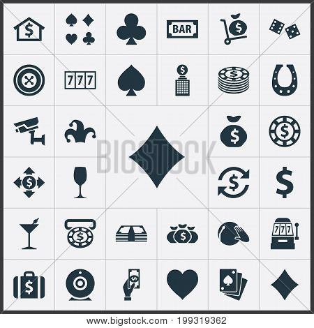 Elements Poker, Jester, Pay And Other Synonyms Buffoon, Cube And Clubs.  Vector Illustration Set Of Simple  Icons. stock photo