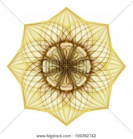 Gold Beautiful Decorative Ornate Mandala. Floral Ethnic Arabic Amulet. Art Deco Asian Style Design Element. Realistic Vitrage Ornaments. Vector 3d Illustration. Ornamental Abstraction stock photo