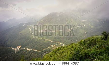 Mount Fansipan in Lao Cai Vietnam. Fansipan is a mountain in Vietnam the highest in Indochina (comprising Vietnam Laos and Cambodia) at 3143 metres. stock photo