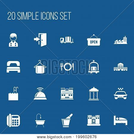 Set Of 20 Editable Plaza Icons. Includes Symbols Such As Bearings, Building, Opened Placard And More stock photo