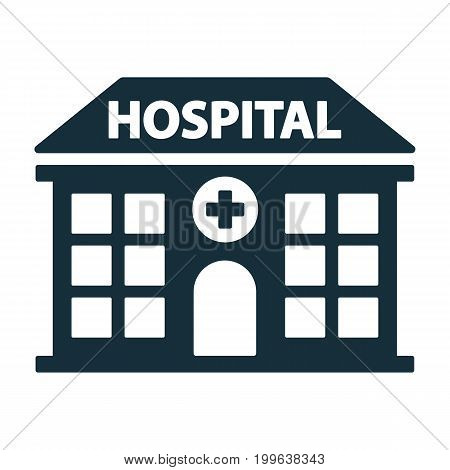 hospital building front icon on white background stock photo