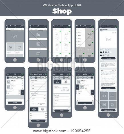 Wireframe UI kit for mobile phone. Mobile App Shop; Category, product, cart, delivery, shipping, and payment screens stock photo