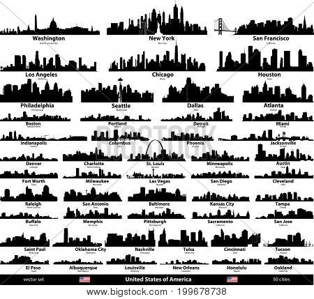 United States isolated city skylines vector set