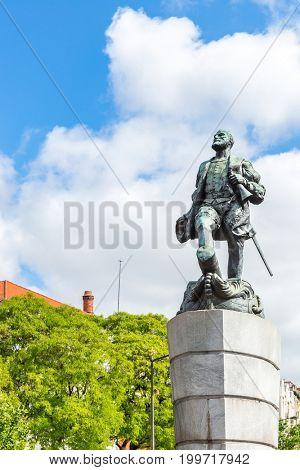 Ferdinand Magellan Statue in Lisbon Portugal stock photo