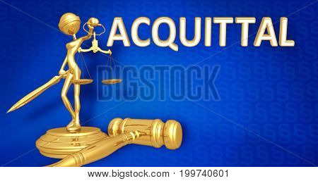 Acquittal Law Concept Lady Justice The Original 3D Character Illustration stock photo