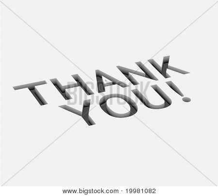 3d vector thank you text design with isolated on white. stock photo
