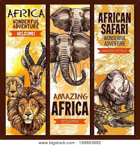 African safari wild animal, outdoor adventure banner set. Elephant, lion, crocodile, alligator, rhino, leopard, jaguar and antelope animal sketch poster for travel agency flyer and tourism design