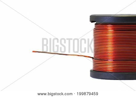Copper coil Ferrite core inductor on white background. passive two-terminal electrical component that stores electrical energy in a magnetic field. stock photo