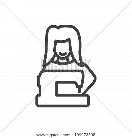 Vector Tailor Element In Trendy Style.  Isolated Clothier Outline Symbol On Clean Background. stock photo