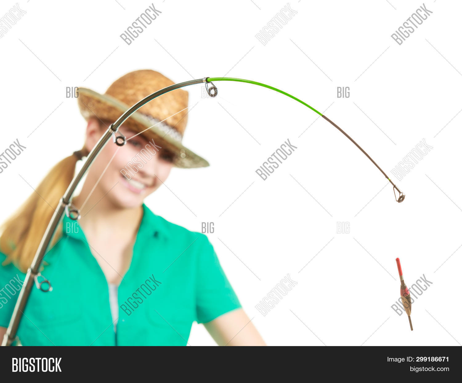 Fishery, Spinning Equipment, Angling Sport And Activity Concept. Happy Smiling Woman With Fishing Ro