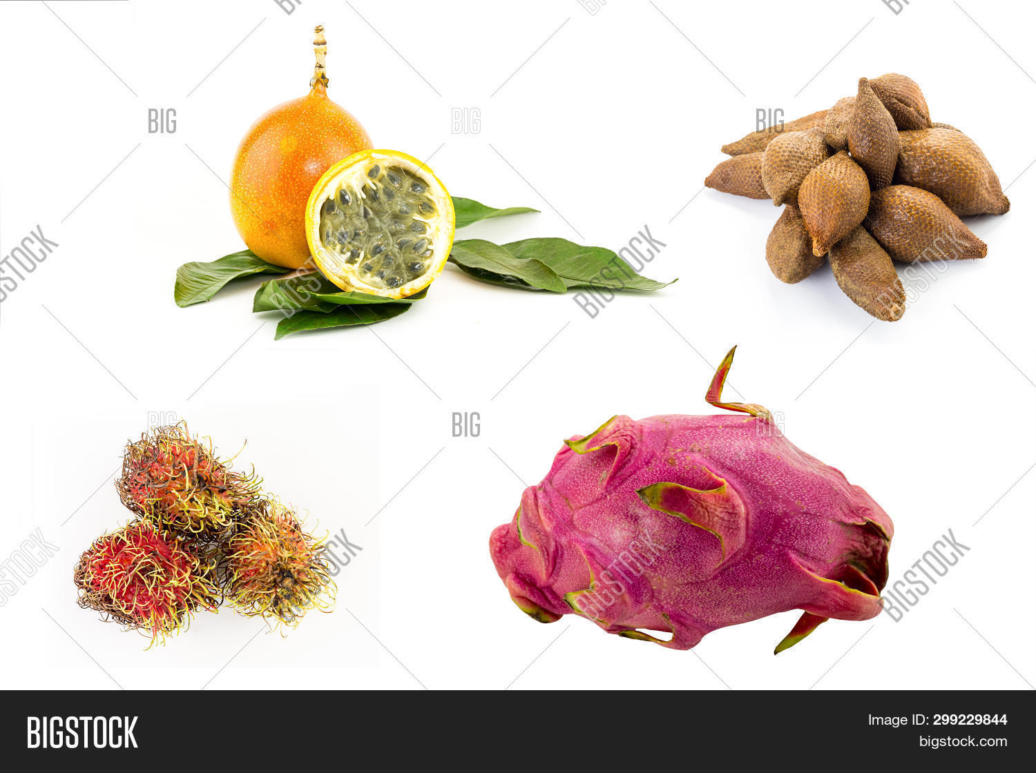 exotic fruits of Asia. Juicy passion fruit yellow ribbutan fruit cactus dragon fruit scaly draconia fruit herring on white background