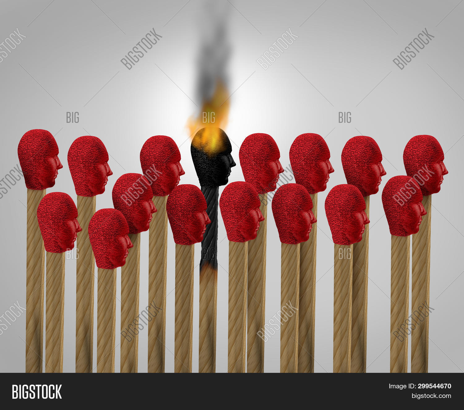 Career Burnout And Business Burn Out As An Overworked Burnt From Exhaustion As A Match Icon Of An Em