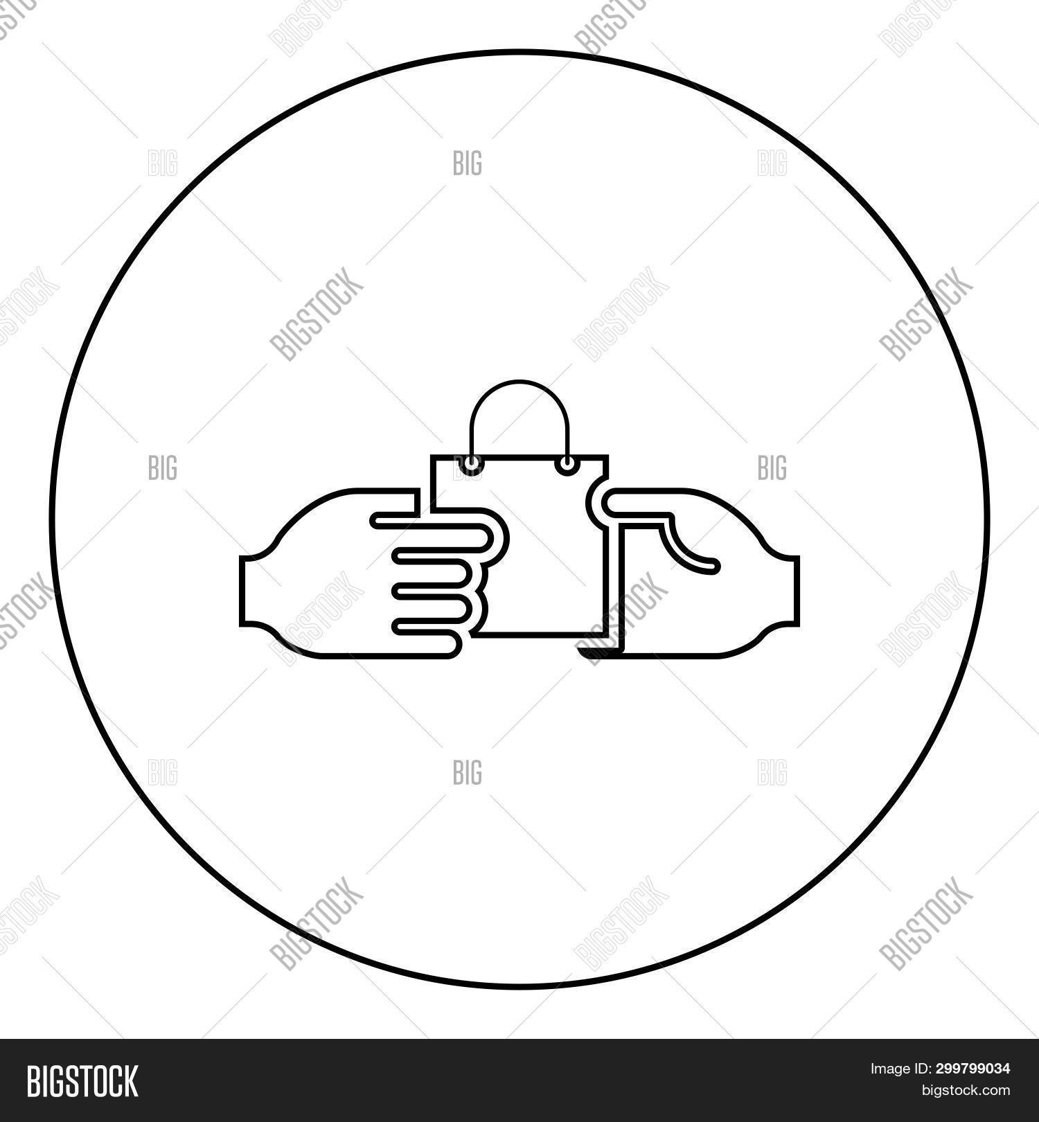 Hand Passes The Package To The Other Hand Hand Pass Bag Other Hand Concept Commerce Idea Trade Marke