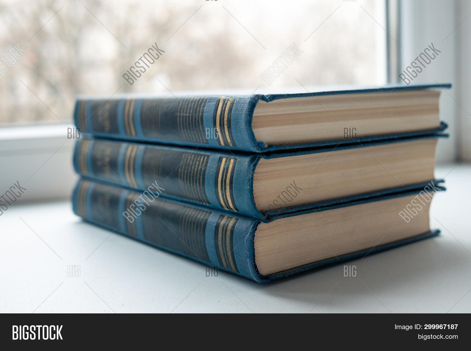 Tree Blue Beautiful Closed Books On White Isolated Background. Beautiful Blue Books Cover. A Row Of