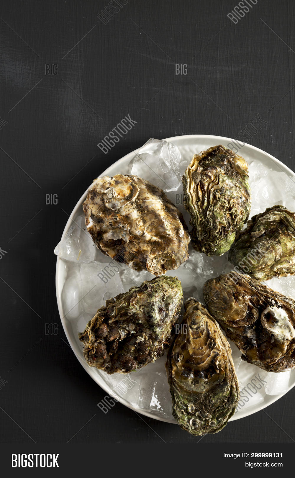 Overhead View, Fresh Oysters On Ice On Gray Plate Over Black Surface. Flat Lay, Overhead, From Above