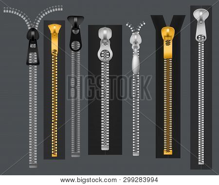 Zippers. Metal fastener zipper, fabric accessories connection. Fashion clothes zip 3d realistic vector set stock photo