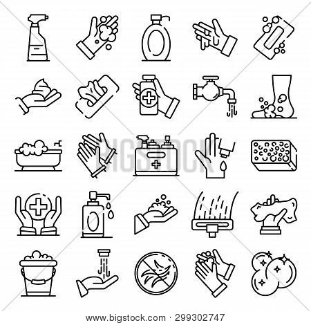 Sanitation icons set. Outline set of sanitation vector icons for web design isolated on white background stock photo