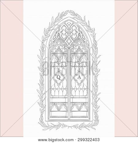 Vector Hand Drawn Old Gothic Window Illustration stock photo