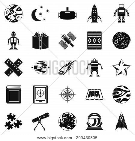 Astronomy icons set. Simple set of 25 astronomy icons for web isolated on white background stock photo