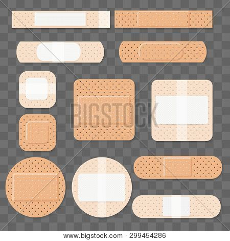 Treatment bands medical plaster. Dressing plasters, wound cross plastering band and porous bandage plasterers vector illustration stock photo