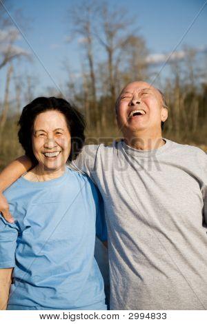 A shot of a senior couple having a good time outdoor stock photo