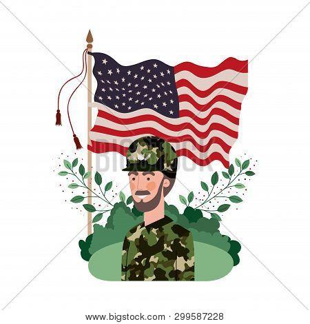 man soldier of war avatar character vector illustration design stock photo