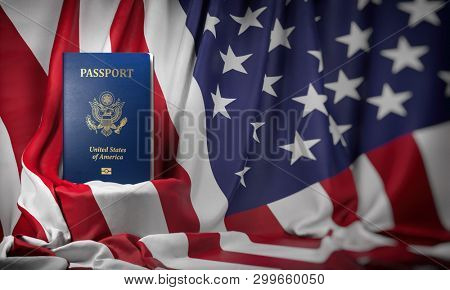 USA passport on the flag of the US United Stetes. Getting a USA passport,  naturalization and immigration concept. 3d illustration stock photo