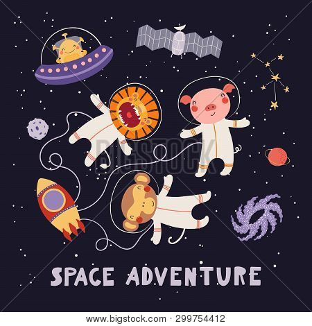 Hand drawn vector illustration of cute animal astronauts, alien in space, with lettering quote Space adventure. Isolated objects on dark. Scandinavian style flat design. Concept for children print. stock photo