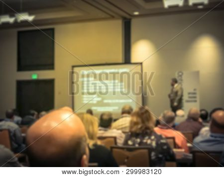 Blurry Background Business Seminar Event At American Hotel