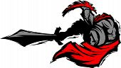 Spartan Trojan Silhouette Mascot Stabbing With Sword And Shield Vector Image