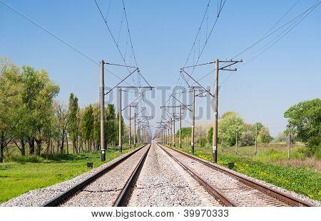 Double-track electrified (25 kV 50 Hz) railway line stock photo