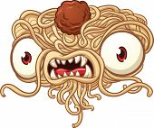 Spaghetti monster. Vector clip art illustration with simple gradients. All in a single layer.