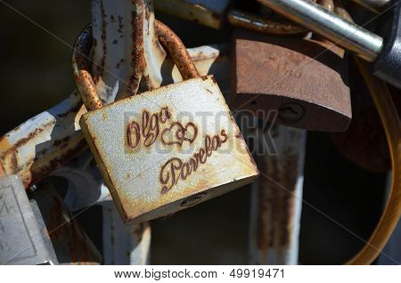 Old rusted padlock as a proof of love stock photo